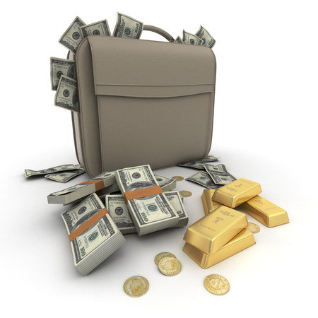 smuggling: Briefcase brimming with dollars and gold