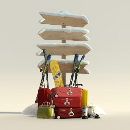 Rendu 3D d'un couvert de neige panneau directionnel et valises, skis, snowboard et bottes Banque d'images - 22843560