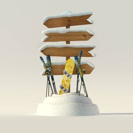 3D rendering of a snow covered directional sign with skis and snowboard leaning on it photo