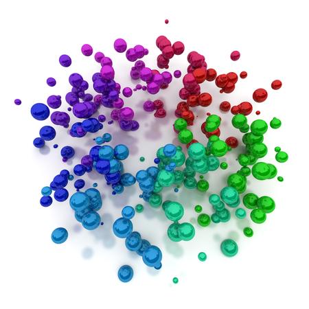 midair: 3D rendering of multicoloured pearls floating in midair