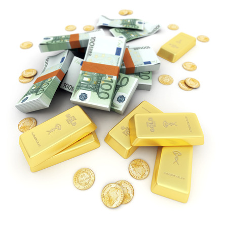 smuggling: A fortune in euro notes, ingots and gold coins Stock Photo