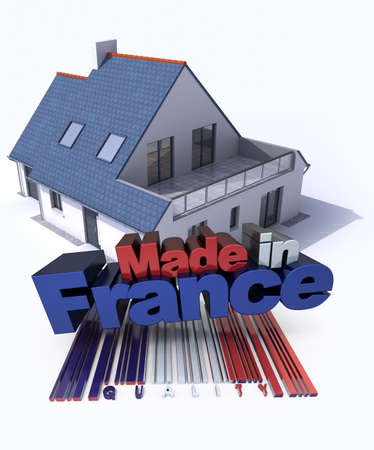 3D rendering of a house with the letters made in France photo