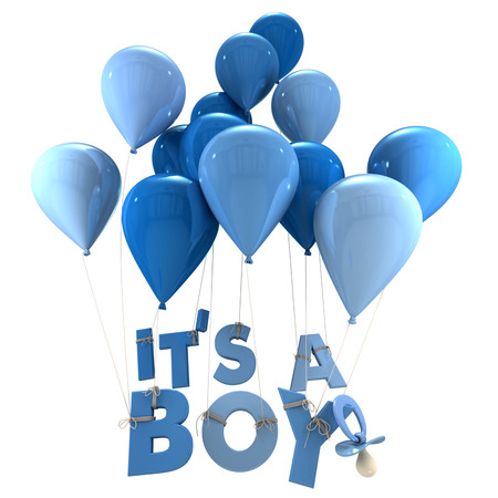 its a boy: 3D rendering of blue balloons with its a boy hanging from the strings and a pacifier Stock Photo