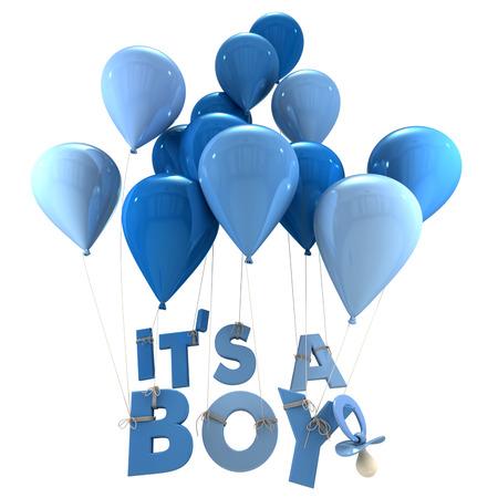 3D-rendering van blauwe ballonnen met het is een jongen opknoping van de snaren en een fopspeen