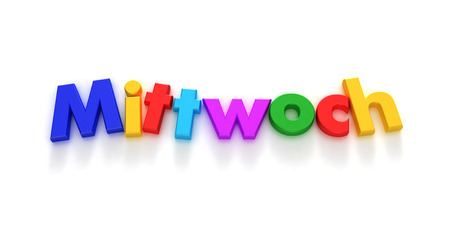 Mittwoch Wednesday in German written in colourful letter magnets