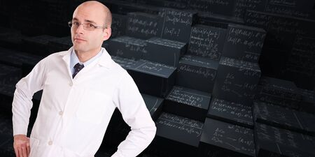 formulae: Man with a lab coat and a tie w