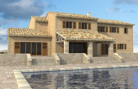 3D rendering of a magnificent house in a South Europe style photo