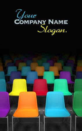 3D rendering of rows of colorful chairs photo