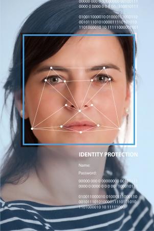 reconocimiento: Cara femenina con l�neas de un software de reconocimiento facial Foto de archivo