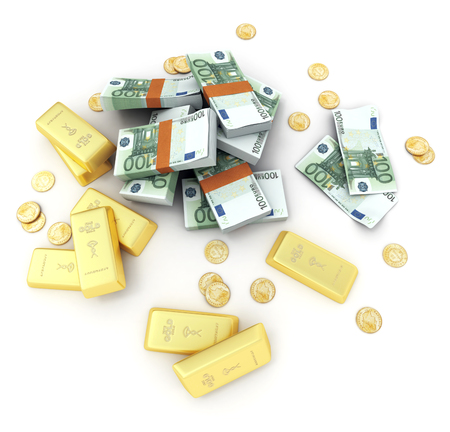 A fortune in euro notes, ingots and gold coins photo