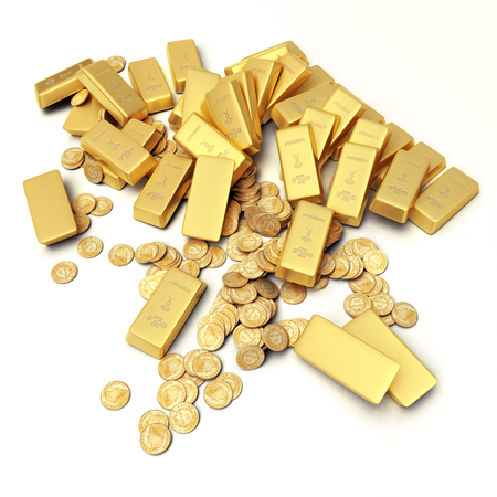 ingots: A fortune in gold ingots and coins Stock Photo