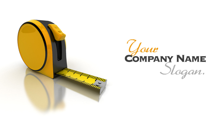 Partially unrolled tape measure, 3D rendering photo