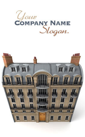 typically: 3D rendering of a typically Parisian building, Aerial perspective Stock Photo