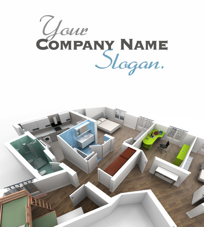 customize: 3D rendering of a roofless architecture model showing an apartment interior fully furnished  Stock Photo