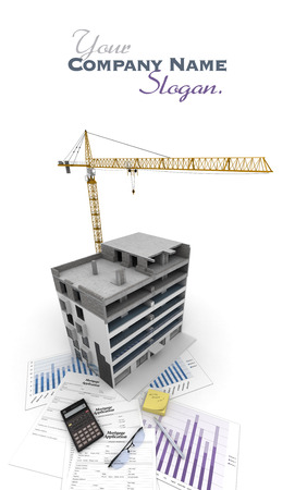 An apartment block in construction, on top of graphics and a mortgage application form Stock Photo - 24387840