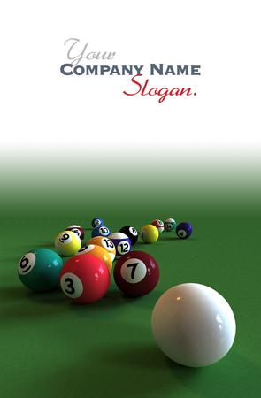 bola de billar: Bola blanca y todas las bolas de billar numeradas contra una mesa de fieltro verde Foto de archivo