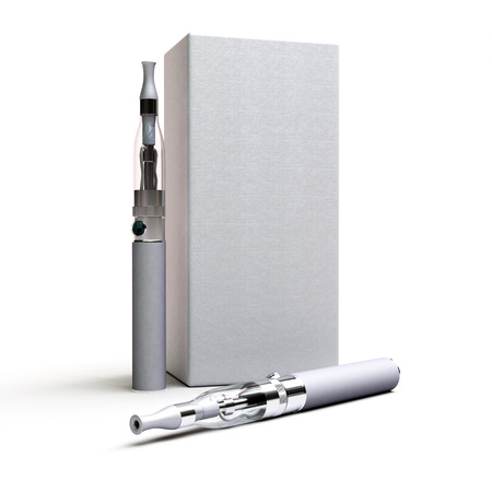 3D rendering of a pair of e-cigarettes with a box photo