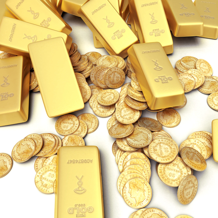 3D rendering of gold ingots and coins photo
