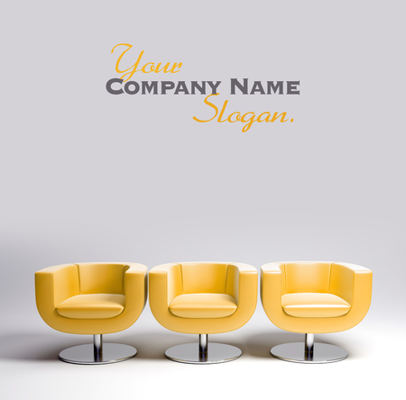 elbow chair: 3D rendering of three modern yellow leather armchairs in a row