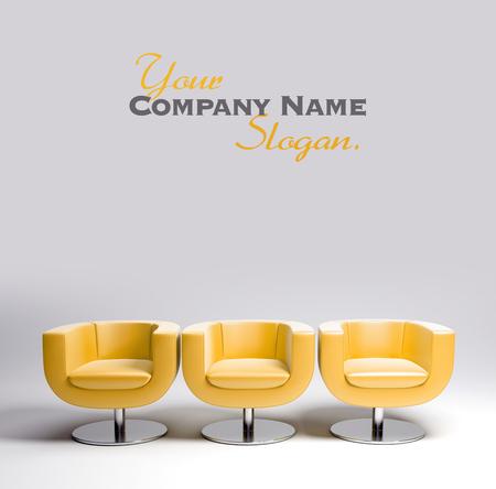 file d attente: Rendu 3D de trois fauteuils en cuir jaune moderne dans une rangée Banque d'images