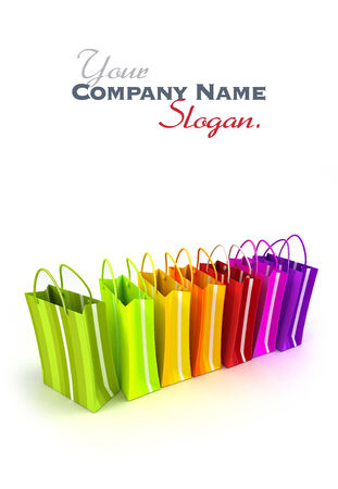 shinny: 3D rendering of high quality looking colorful stripped shopping bags against a white background