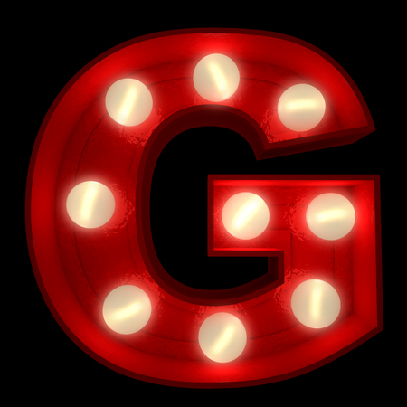 g alphabet:  3D rendering of a glowing letter G ideal for show business signs