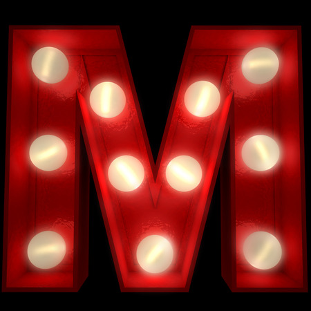 letter m:  3D rendering of a glowing letter M ideal for show business signs  Stock Photo