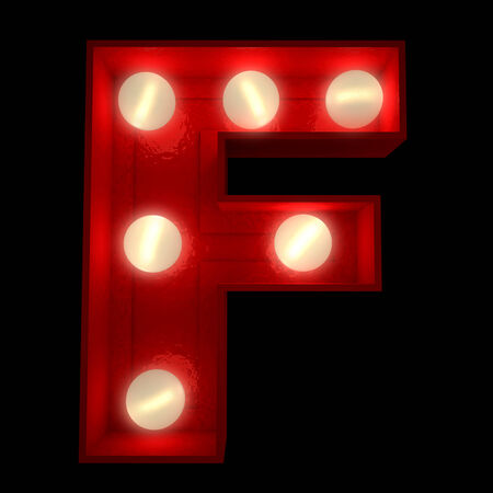 letter f:  3D rendering of a glowing letter F ideal for show business signs