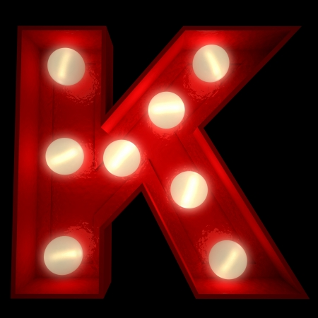 letter k:  3D rendering of a glowing letter K ideal for show business signs