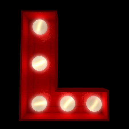 l red:  3D rendering of a glowing letter L ideal for show business signs