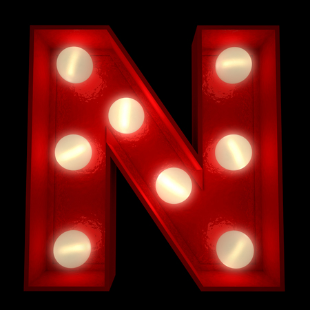 3d alphabet letter abc:  3D rendering of a glowing letter N ideal for show business signs  Stock Photo