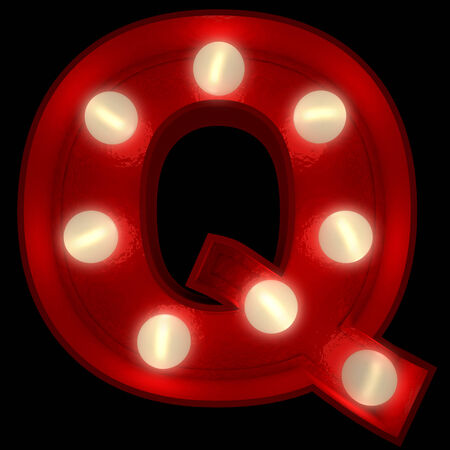 3D rendering of a glowing letter Q ideal for show business signs  photo