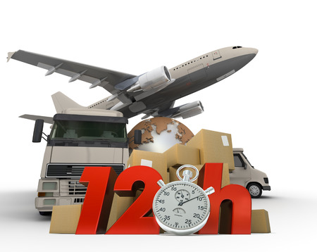 overnight:  3D rendering of  a world map, packages a van, a truck and an airplane with the words 12 Hrs and a chronometer