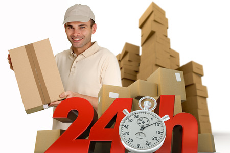 A messenger delivering a parcel with 24 hrs and a chronometer   photo