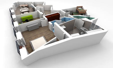 3D rendering of a roofless architecture model showing an apartment interior fully furnished Stock Photo - 24953319