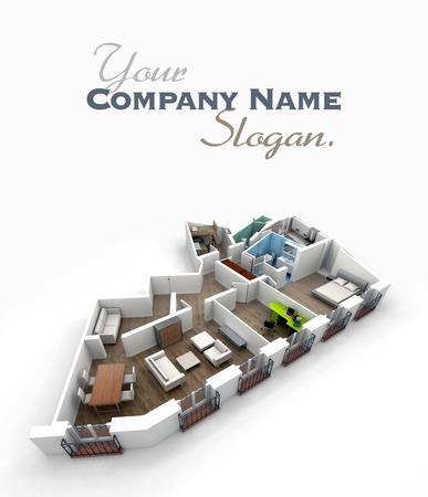 mobiliario oficina: Representación 3D de un modelo sin techo arquitectura mostrando un apartamento interior totalmente amueblado Foto de archivo