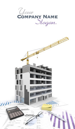 An apartment block in construction, on top of graphics and a mortgage application form Stock Photo - 24953327