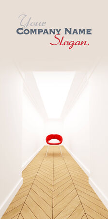 access point: 3D rendering of a Red chair in a blind corridor