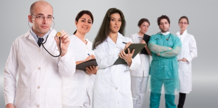 A group of six healthcare professionals in different attitudes  photo