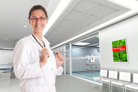 specialist: Cheerful female doctor in a hospital interior Stock Photo