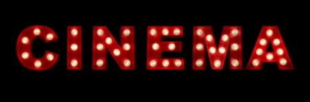 3D rendering of the sign Cinema written with glowing letters Stock Photo