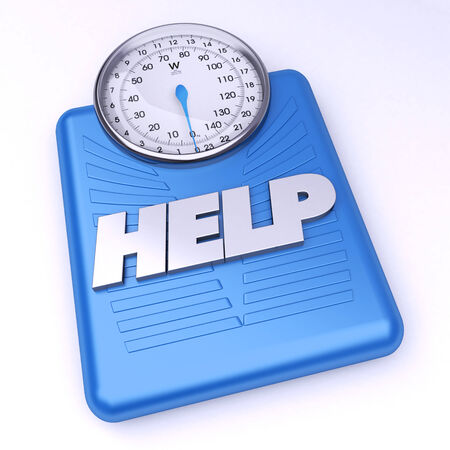 3D rendering of a weight scale with the word help photo