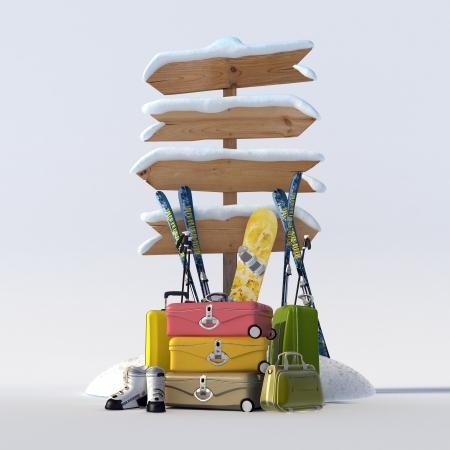 3D weergave van een besneeuwde directionele teken en koffers, ski's, snowboard en schoenen Stockfoto