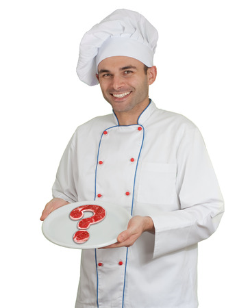Chef presenting a plate with a raw beef steak in the shape of a question mark