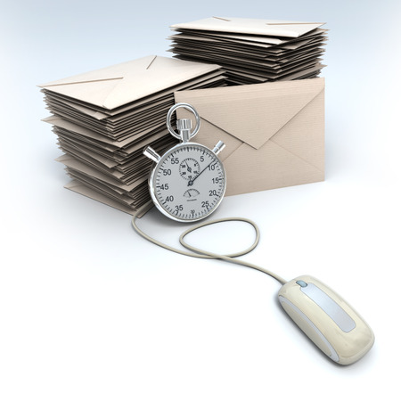 3D rendering of a stack of envelopes with a chronometer connected to a computer mouse  photo