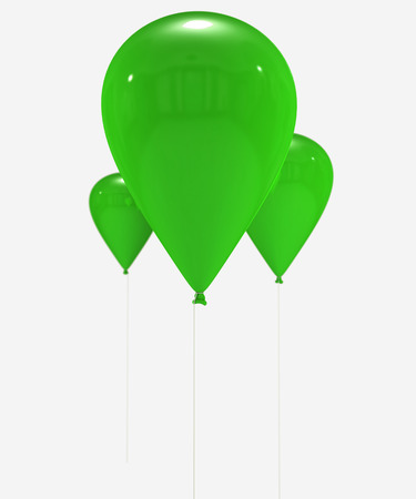 own:  3D rendering of a group of green balloons flying with the strings hanging down. Ideal to put your own message or object