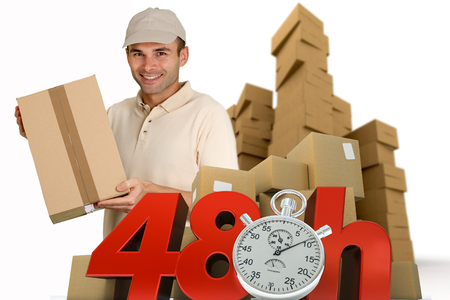 A messenger delivering a parcel with 48 hrs and a chronometer   photo