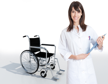 discharge: Female medical professional holding a folder  Stock Photo