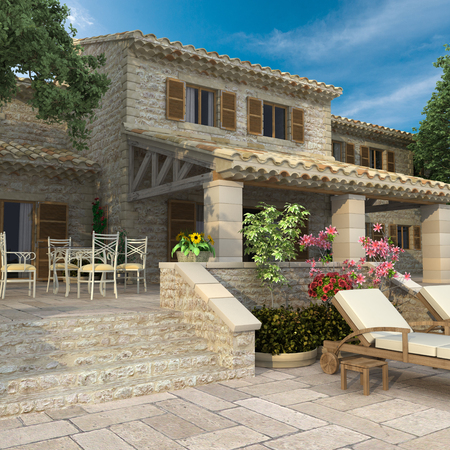 3D rendering of a magnificent villa with garden and deck chairs, suggesting a pool