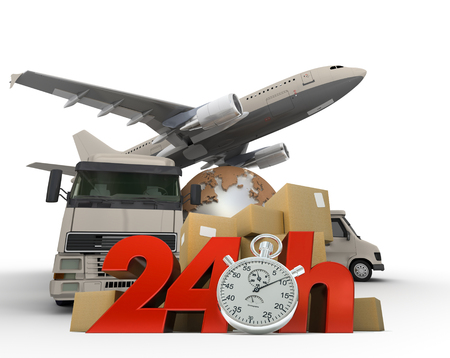 overnight:  3D rendering of  a world map, packages a van, a truck and an airplane with the words 24 Hrs and a chronometer